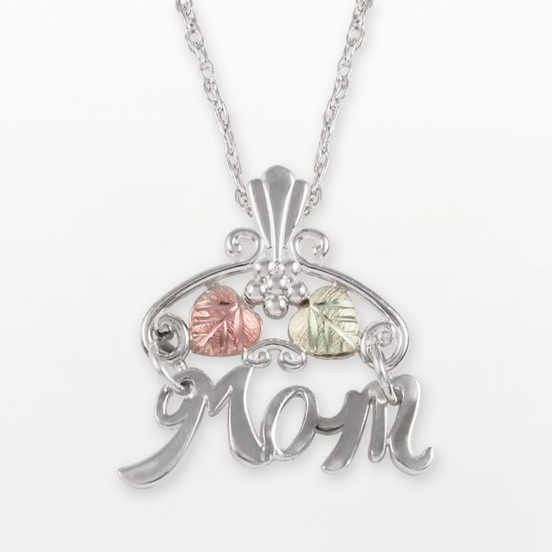 Black Hills Gold Tri-Tone Mom Pendant in Sterling Silver
