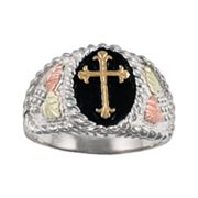 10k and 12k Gold and Sterling Silver Four Tone Leaf Cross Ring - Men