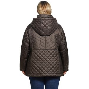 Plus Size Gallery Faux-Fur Hood Quilted Jacket