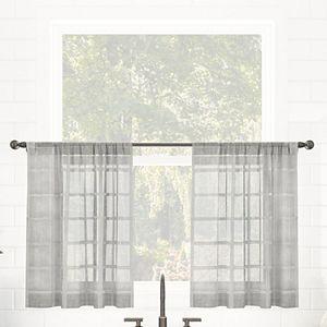 Clean Window Windowpane Plaid Anti-Dust Sheer Cafe Curtain Pair