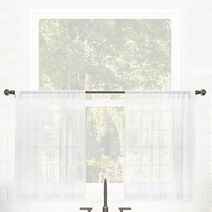 Clean Window Windowpane Plaid Anti-Dust Sheer Cafe Curtain Pair