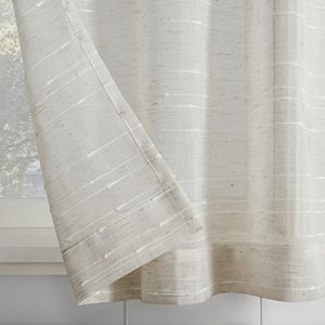 Clean Window Textured Slub Stripe Anti-Dust Linen Blend Sheer Cafe Curtain Pair