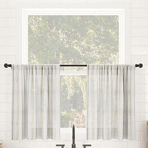 Clean Window Vintage Stripe Anti-Dust Sheer Cafe 2-pack Tier Curtain Pair