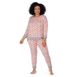 Plus Size Cuddl Duds® Knit 3/4 Sleeve Pajama Top & Banded Bottom Pajama Pants