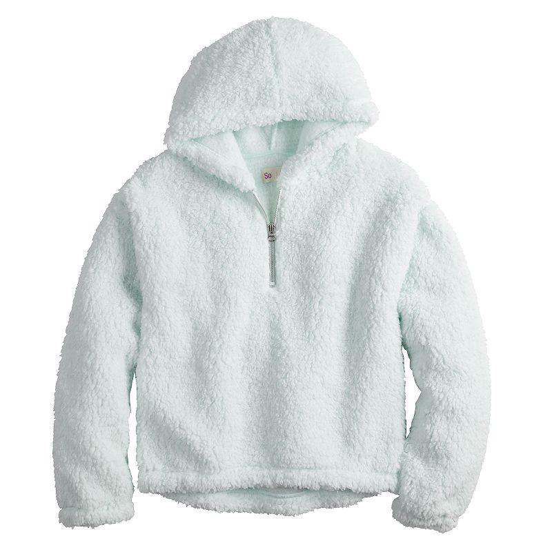 Girls 4-20 SO Sherpa Quarter-Zip Hoodie in Regular & Plus Size, Girl's, Size: XXS (4/5), Turquoise/Blue