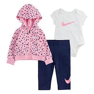 Baby Girl Nike 3-Piece Bodysuit, Hoodie and Leggings Set