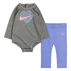Baby Girl Nike 2-Piece Long Sleeve Bodysuit & Leggings Set