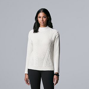 Women's Simply Vera Vera Wang Braided Cable-Knit Sweater