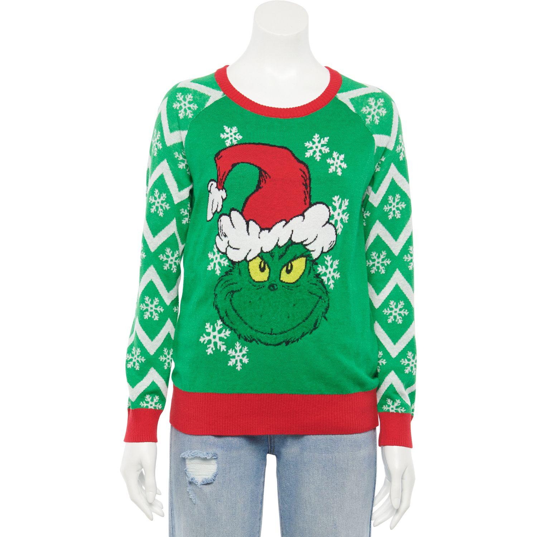 Juniors' Grinching Christmas Sweater