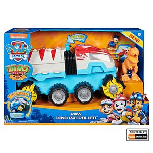 PAW Patrol Dino Rescue Dino Patroller Motorized Team Vehicle with Exclusive Chase and T. Rex Figures