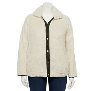 Plus Size EVRI? Button-Front Sherpa Jacket
