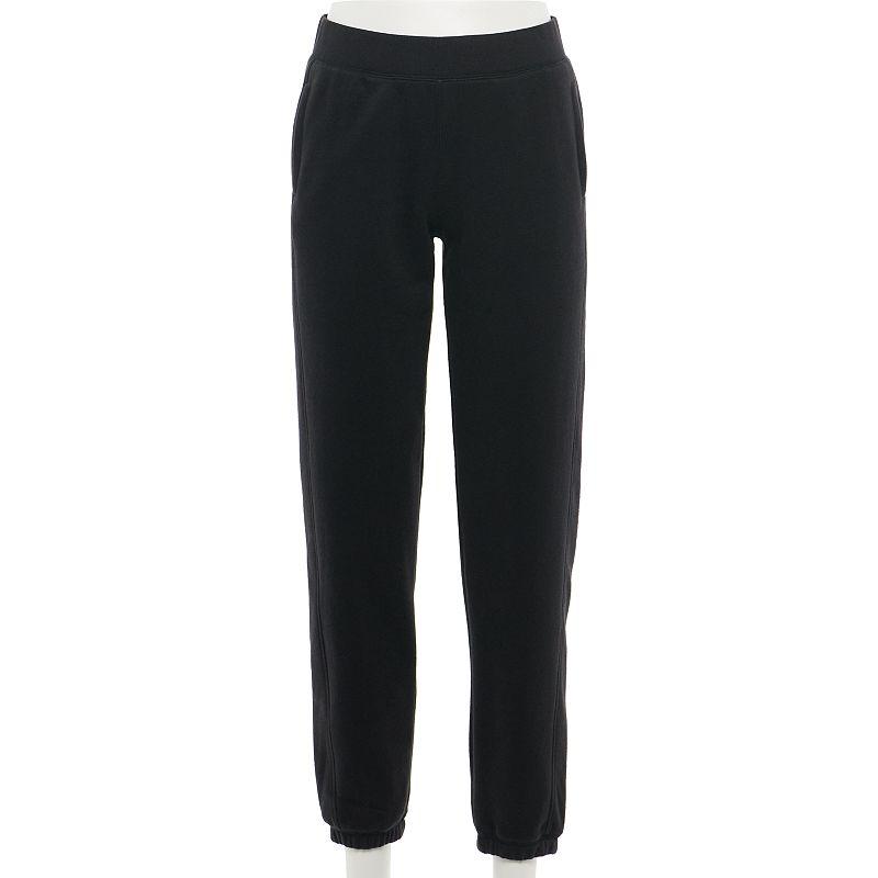 Women's Tek Gear Fleece Banded-Bottom Pants, Size: XS Long, Black
