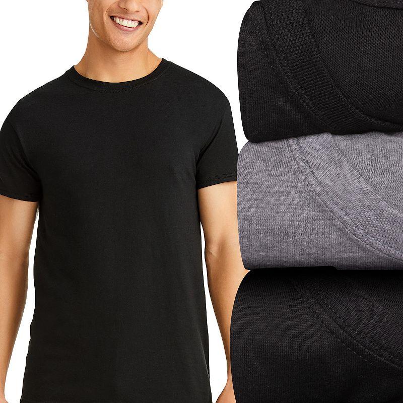 Men's Hanes Ultimate 3-pack ComfortFit Crewneck Tees, Size: XXL, Black Gray