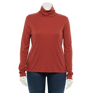 Juniors' Plus Size SO® Basic Long Sleeve Turtleneck Top