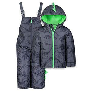 Toddler Boy Carter's Dinosaur Spikes Heavyweight Hooded Jacket & Bib Snow Pants Set