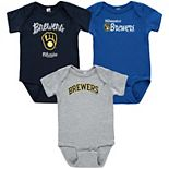 Infant Soft as a Grape Navy/Gray/Royal Milwaukee Brewers 3-Pack Rookie Bodysuit Set