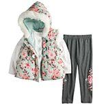 Toddler Girl Little Lass Puffer Vest, Tee & Leggings Set