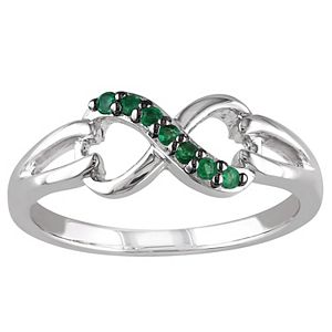 Stella Grace Sterling Silver Emerald Infinity Ring