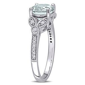Stella Grace 14k White Gold Aquamarine & 1/8 Carat T.W. Diamond Filigree Ring