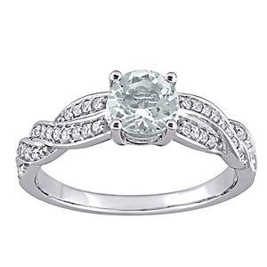Stella Grace 14k White Gold Aquamarine & 1/4 Carat T.W. Diamond Infinity Ring