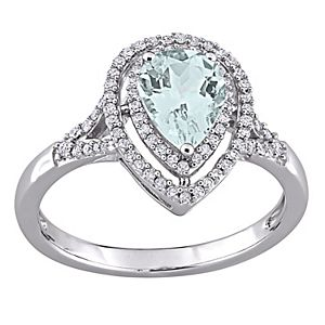 Stella Grace 14k White Gold Aquamarine & 1/4 Carat T.W. Diamond Teardrop Halo Ring