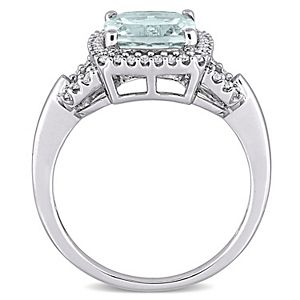 Stella Grace 10k White Gold Aquamarine & 1/6 Carat T.W. Diamond Halo Ring