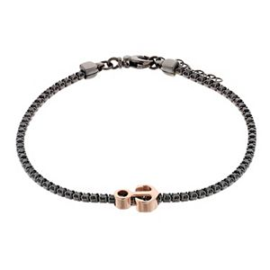 Two Tone Sterling Silver Cubic Zirconia Anchor Bracelet