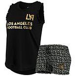 Women's Concepts Sport Black/White LAFC Unwind Tank Top & Shorts Pajama Set