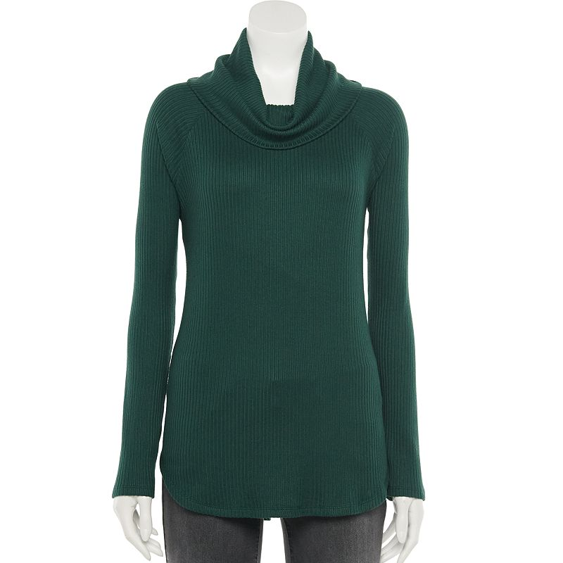 Women's Sonoma Goods For Life Raglan Rib Cowlneck Top. Size: XS. Dark Green