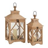 Stella & Eve Carved Wood & Glass Square Candle Lanterns 2-pc. Set
