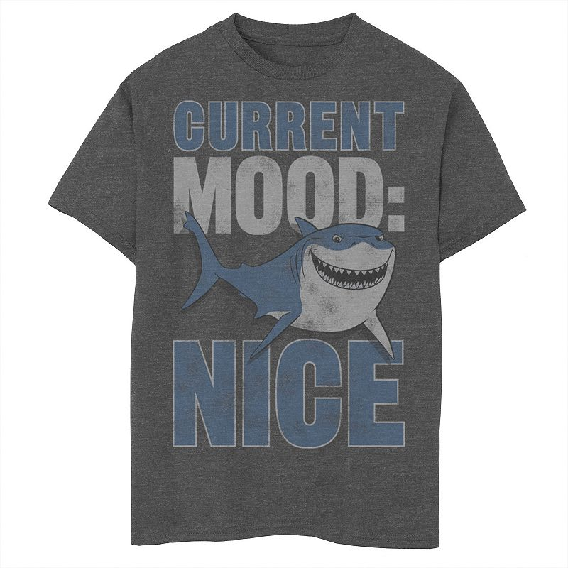 Disney / Pixar's Finding Nemo Boys 8-20 Bruce Current Mood Nice Portrait Graphic Tee, Boy's, Size: Large, Grey