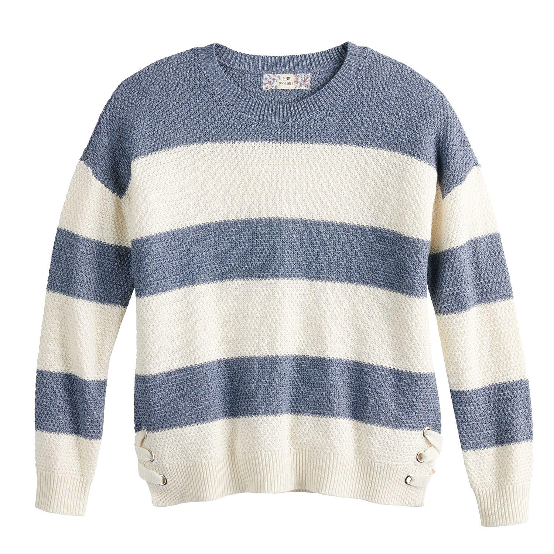 Juniors' Pink Republic Side Lace-Up Crewneck Sweater