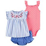 Baby Girl Carter's 3-Piece Embroidered Ruffle Top, Bodysuit & Little Short Set