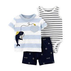 Baby Boy Carter's 3-Piece Whale Tee, Bodysuit & Shorts Set