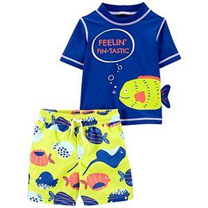 "Toddler Boy Carter's ""Feeling Fin-tastic"" Rash Guard Top & Swim Trunks Set"