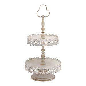 Stella & Eve Feminine Farmhouse 2-Tier Decorative Tray Stand Table Decor