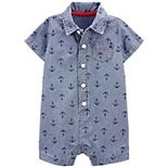 Baby Boy Carter's Collared Snap Front Print Romper