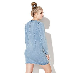 Juniors' Vylette? Puff-Sleeve Denim Shift Dress
