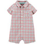Baby Boy Carter's Plaid Button-Front Romper