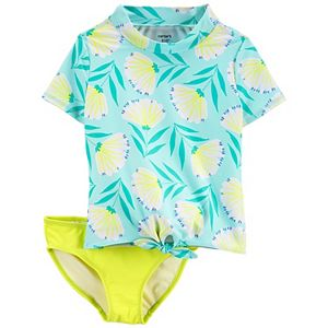 Girls 4-16 Carter's Carter's Floral 2-Piece Rashguard & Bottoms Swimsuit Set