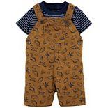 Baby Boy Carter's Striped Tee & Dinosaur Shortalls Set