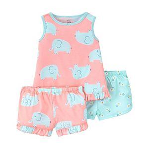 Toddler Girl Carter's 3-Piece Flutter Tee & Ruffle Shorts Pajama Set