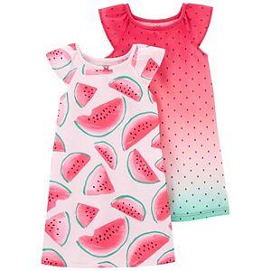 Toddler Girl Carter's 2-Pack Flutter Sleeve Night Gowns