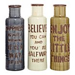 Stella & Eve Farmhouse Ceramic Bottle Vases with Inspirational Quotes 3-pc. Set