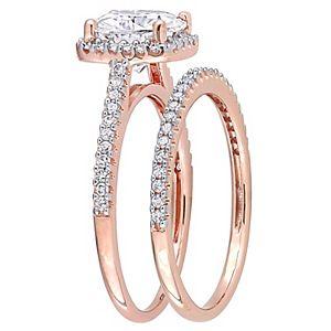 Stella Grace 14k Rose Gold 2 Carat T.W. Lab-Created Moissanite & 1/3 Carat T.W. Diamond Engagement Ring Set