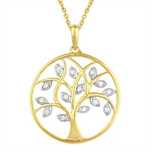 Sterling Silver 1/6 Carat T.W. Diamond Tree Of Life Pendant Necklace