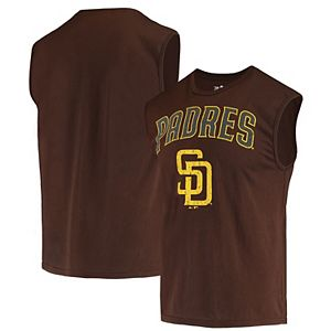 Men's Majestic Threads Brown San Diego Padres Softhand Muscle Tank Top