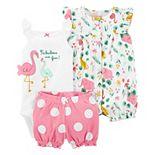 Baby Girl Carter's 3-Piece Flamingo Bodysuit, Romper & Little Shorts Set