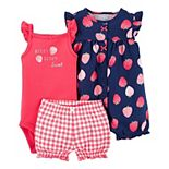 Baby Girl Carter's 3-Piece Strawberry Bodysuit, Romper & Little Shorts Set