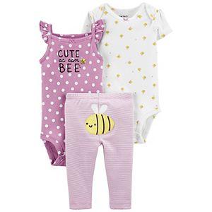 Baby Girl Carter's 3-Piece Bee Bodysuits & Pants Set